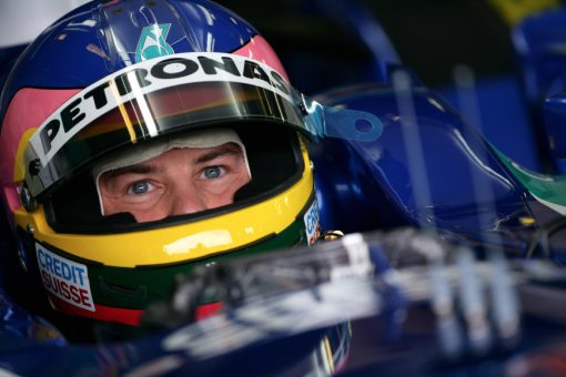 Foto Poster Jacques Villeneuve Helm shot tijdens de GP van Australie, F1 Sauber Team 2005