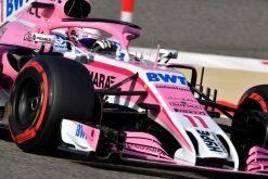 Sergio Perez - Force India in actie tijdens de GP van Bahrein, Formule 1 Seizoen 2018