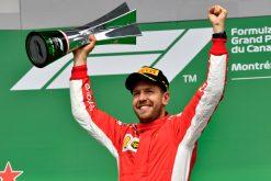 Sebastian Vettel - Ferrari Winnaar van de GP van Canada - Montreal Formule 1 Seizoen 2018.Foto is te bestellen als Poster, Ingelijst, Acrylglas, Alu-Dibond, Canvas, Forex of maak je eigen F1 Puzzel.Haal de Formule1 in huis met F1 Behang.