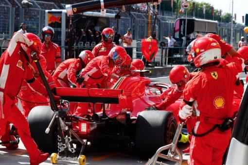Kimi Raikkonen Ferrari GP Hongarije 2018 als Poster