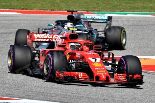 Kimi Raikkonen Ferrari GP Amerika 2018 als Poster