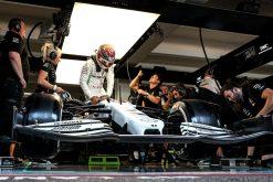 Lewis Hamilton in de pitbox foto GP Duitsland