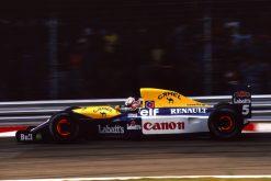 Nigel Mansell Williams GP Italie remschijf actie foto1991